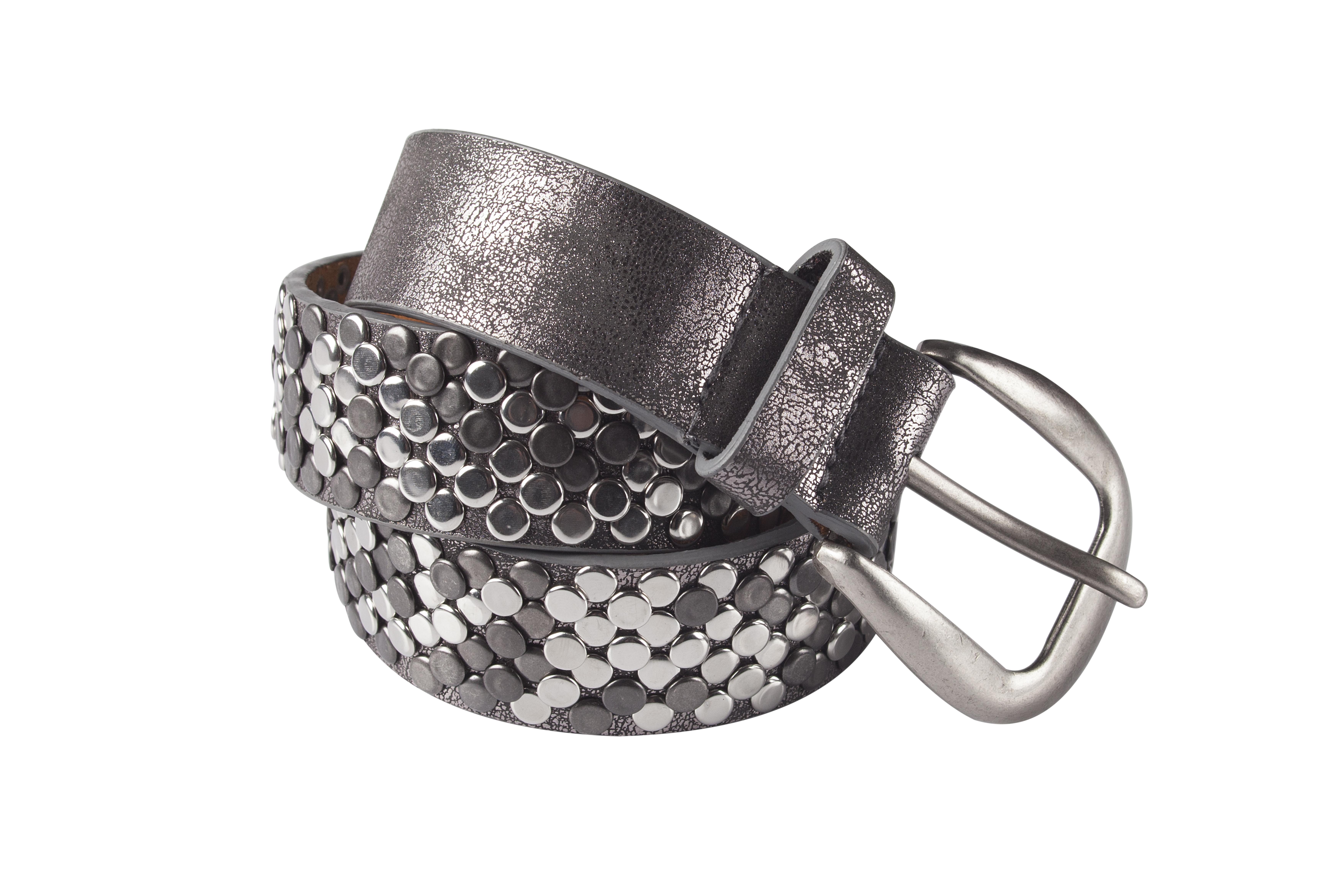 leren riem grijs zilver met kleine studs tastefultas.nl