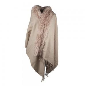 Omslagdoek met franjes en speld - Beige warme of koude kleur ...