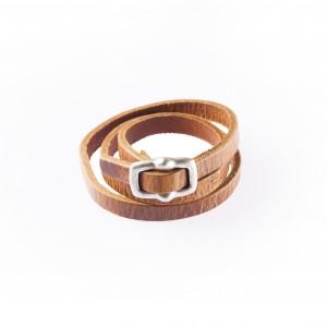 Leren riem (warparound) met bijpassende leren armband