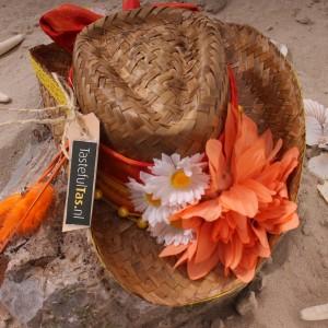 Rieten cowboy strandhoed Ibiza style oranje Tastefultas.nl