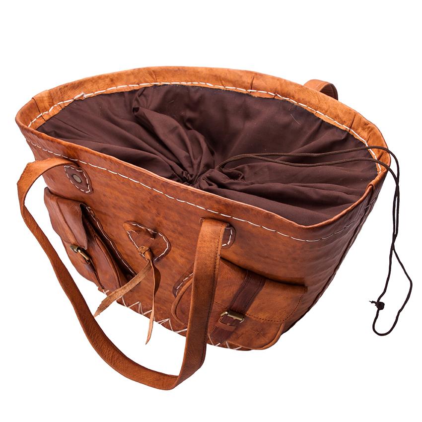 Tas Grote Vakken : Leren rieten tas met vakken