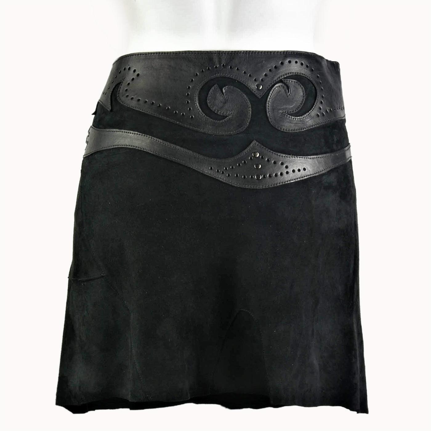 bd255c5d162cd3 Suede rok met leren tailleband zwart - TastefulTas.nl